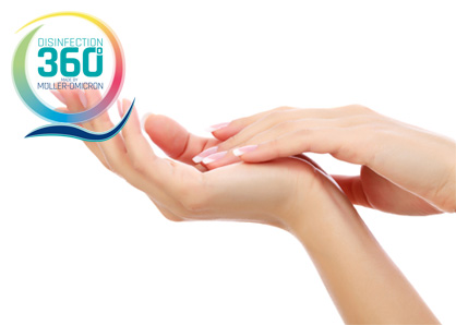 Hands with disinfection 360 ° logo
