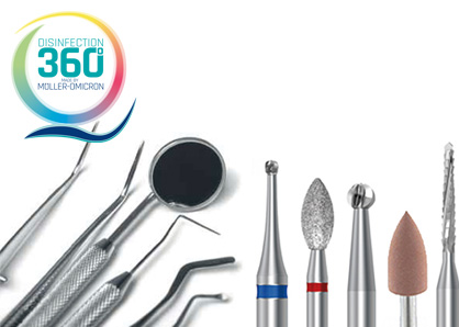 Dental instruments with disinfection 360 ° logo