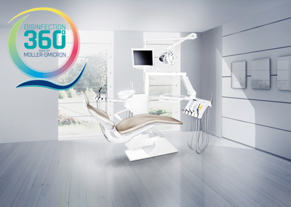 Dental chair with disinfection 360 ° logo